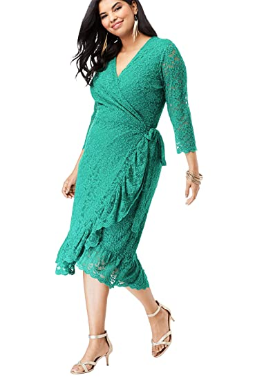 Roamans Women\'s Plus Size Lace Midi Wrap Dress at Amazon ...