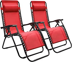 Devoko Patio Zero Gravity Chair Outdoor Folding Adjustable Reclining Chairs Pool Side Using Lawn Lounge Chair with Pillow Set of 2 (Red)
