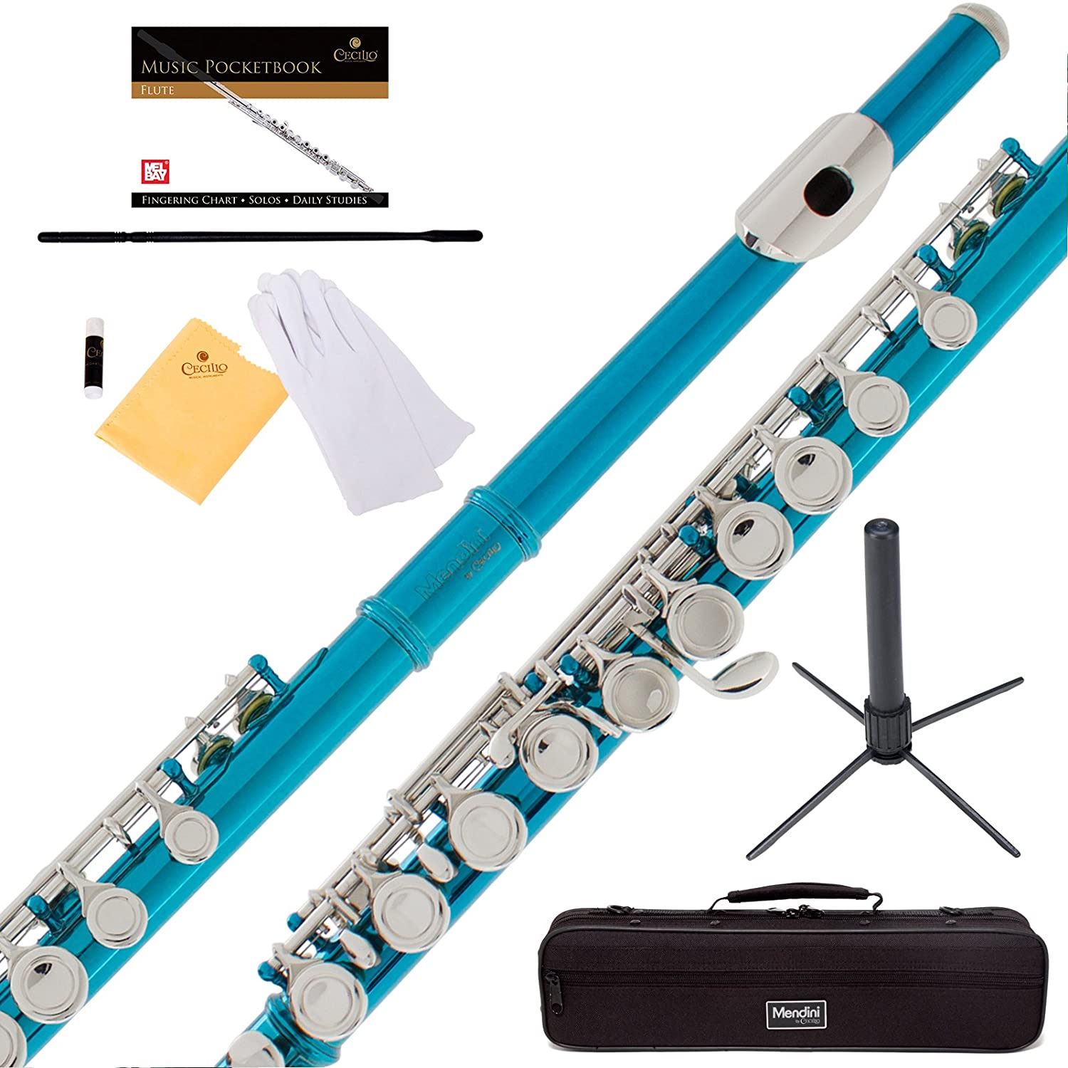 Mendini Sky Blue Closed Hole C Flute with Stand, 1 Year Warranty, Case, Cleaning Rod, Cloth, Joint Grease, and Gloves - MFE-SB+SD+PB Cecilio Musical Instruments