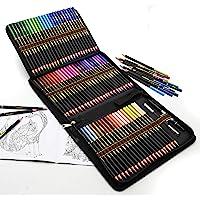 Färgpennor, professionell uppsättning av 72 färgade pennor i stort pennfodral med dragkedja set, mjuka vaxbaserade…