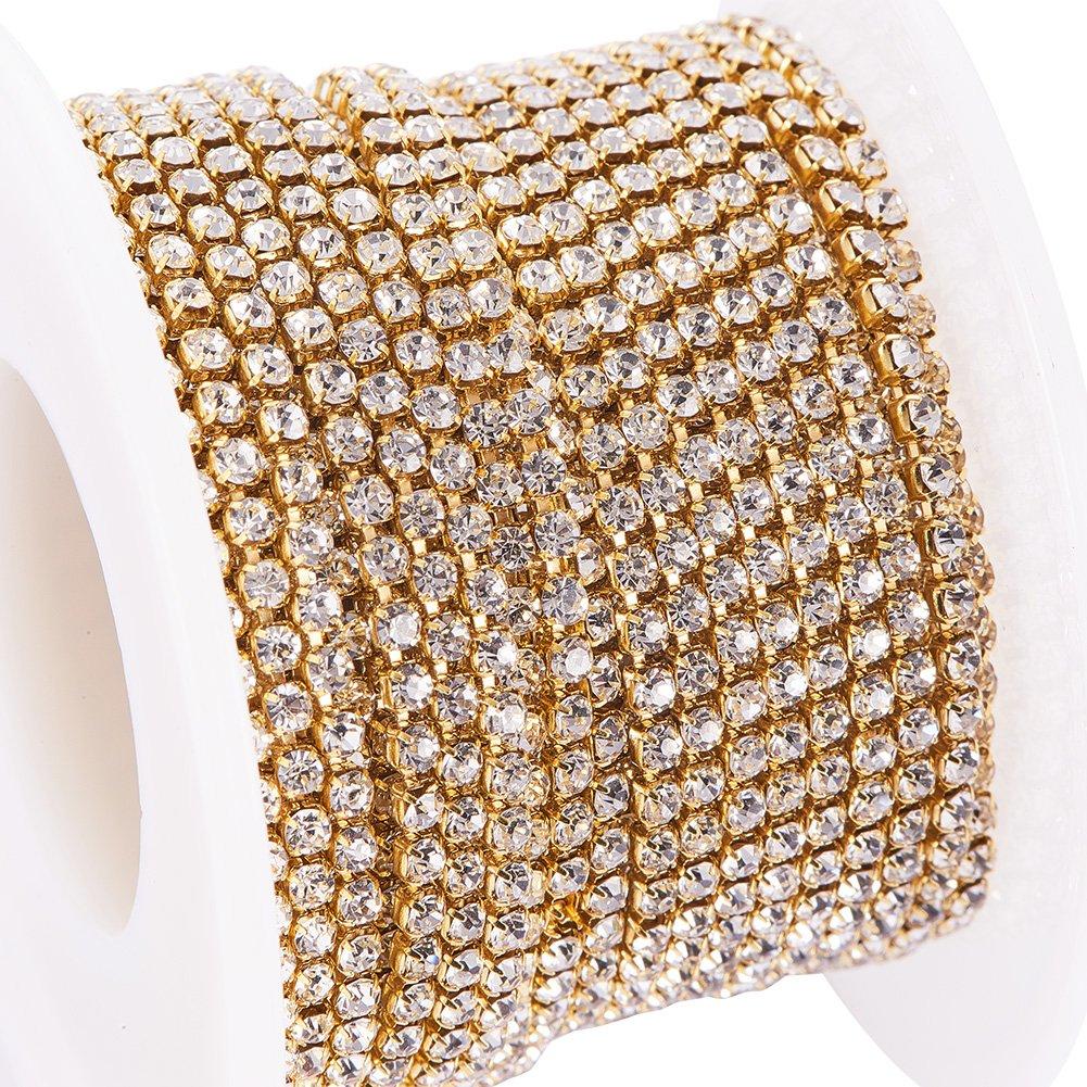 BENECREAT 10 Yard Crystal Rhinestone Close Chain Clear Trimming Claw Chain Sewing Craft about 2880pcs Rhinestones, 2mm - Amethyst (Silver Bottom) CHC-R125-S6-16S