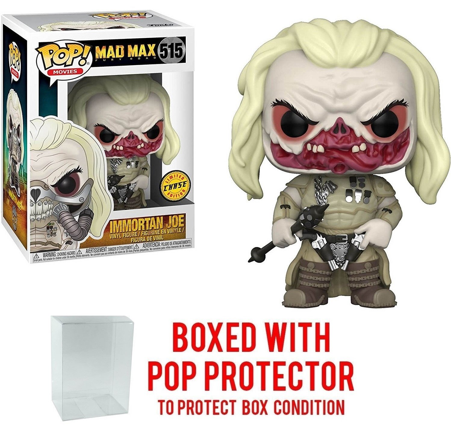 Funko Pop Películas: Mad Max Fury Road - Figura de vinilo Immortan Joe CHASE Variant Limited Edition (Se incluye con el estuche POP BOX PROTECTOR)