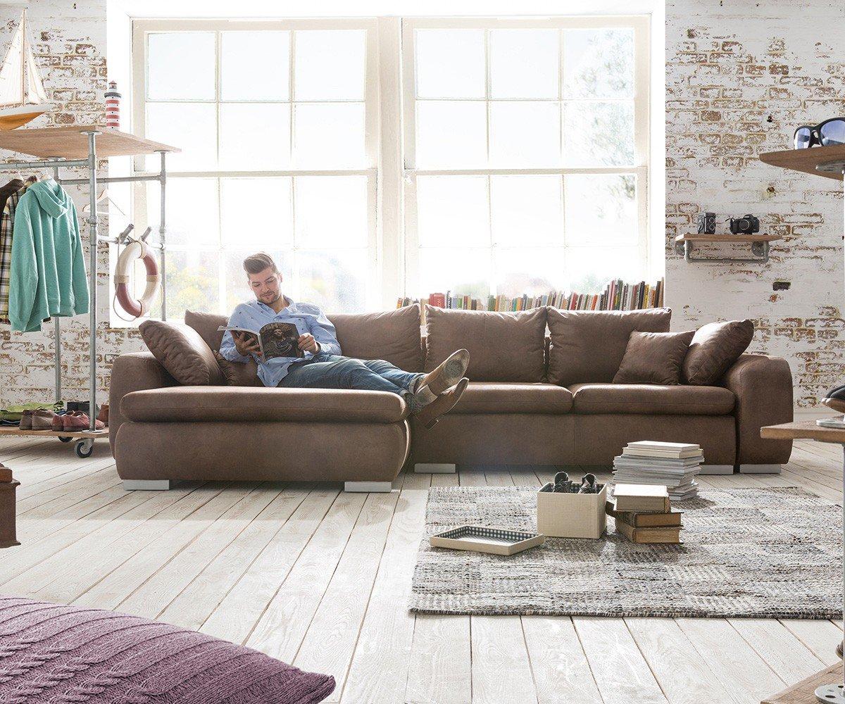 Couch Maxie Braun 330x178 cm Schlaffunktion Ottomane Links Ecksofa