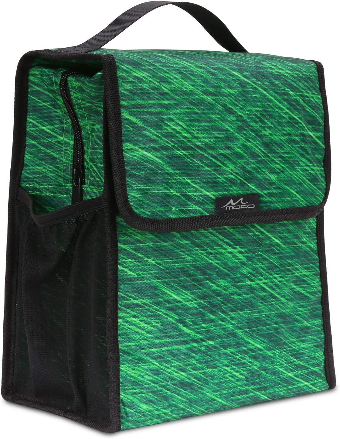 MoKo Insulated Lunch Bag, Reusable Cooler Tote Bag, Collapsible Multi-use Lunch Box, Thermal Lunch Sack with Zipper Closure for Travel Picnic School Office, Forest Green