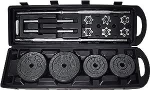 Skyland LP50Kgs-Box Dumbbell and Barbell Set, 1 Rod and 2 bars, 50 Kg - Black