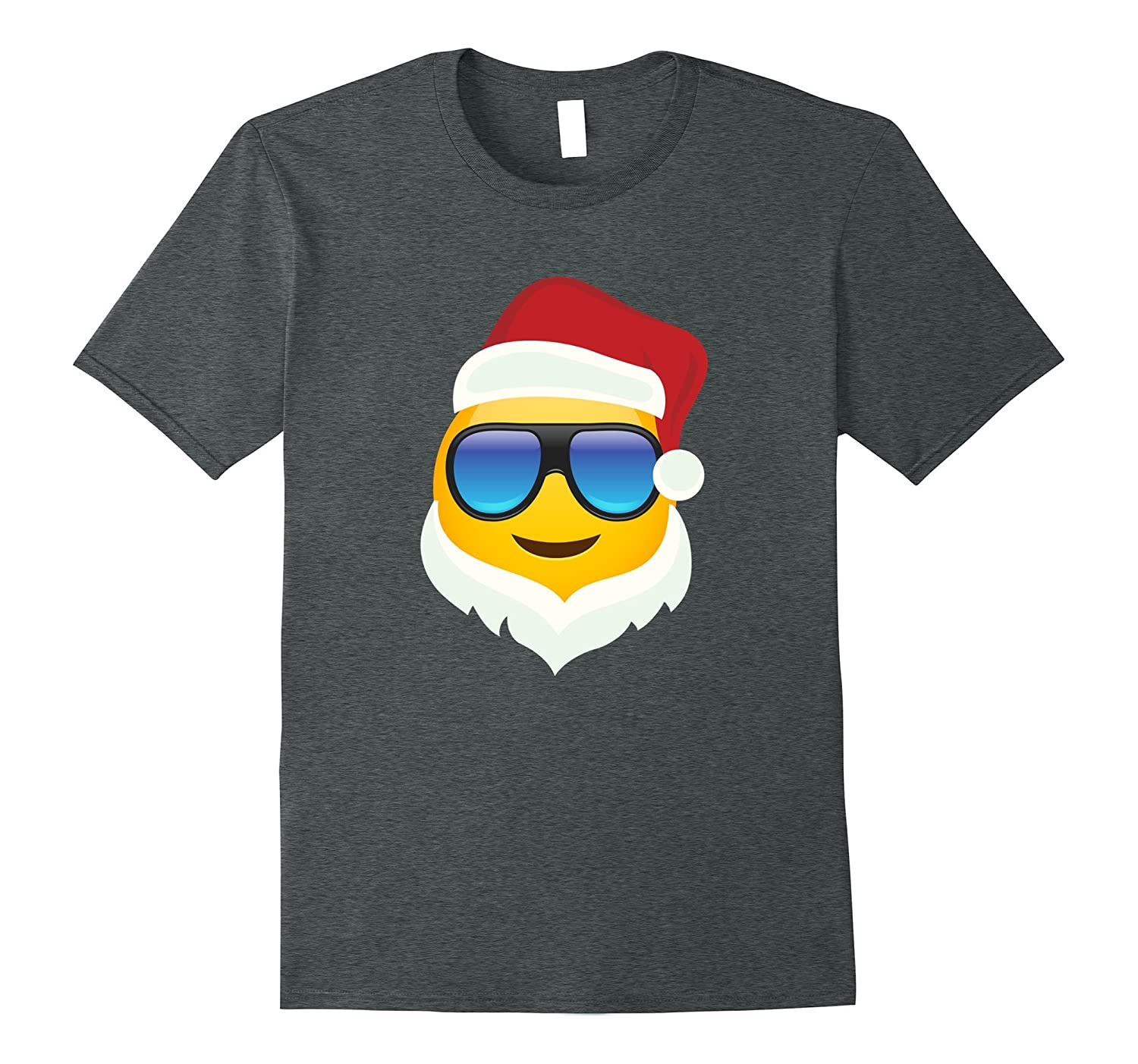 Cool Emoji wearing glasses and Santa Hat and beard T-shirt-FL