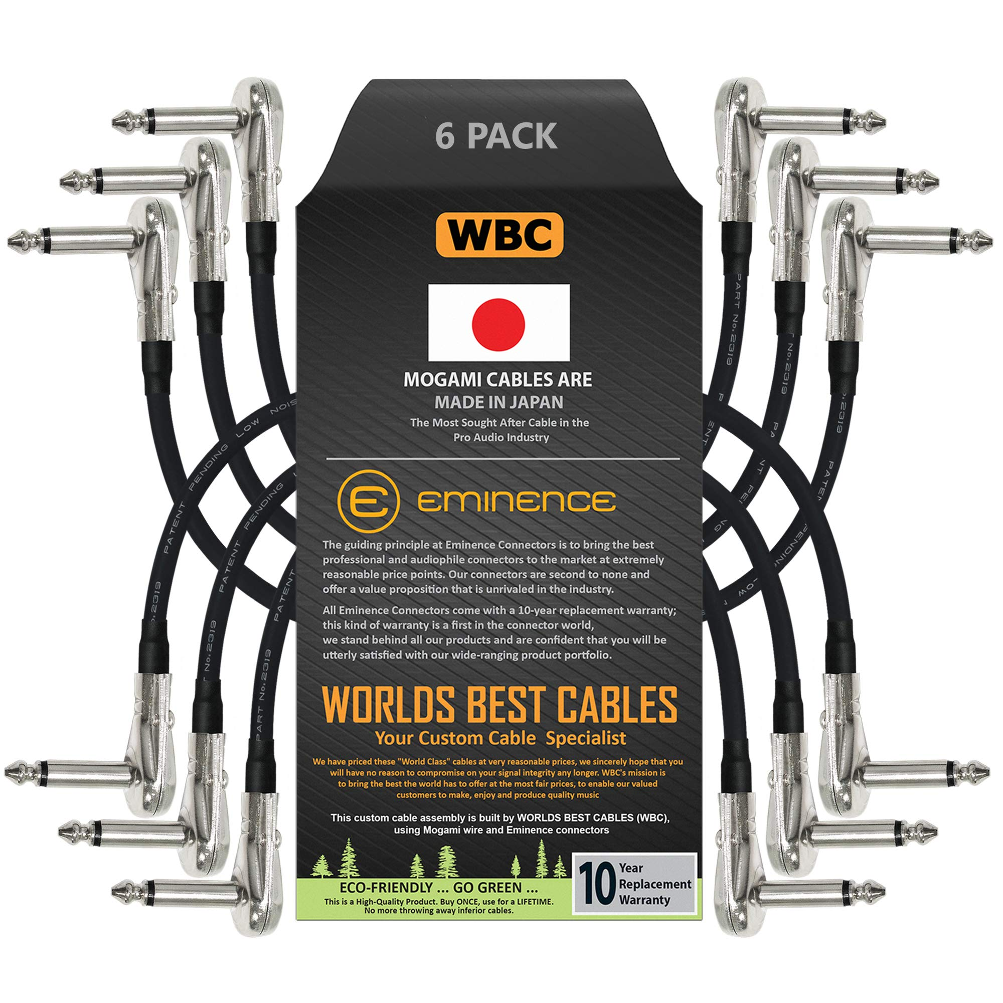 6 Units - 6 Inch - Pedal, Effects, Patch, Instrument Cable Custom Made by WORLDS BEST CABLES – Made Using Mogami 2319 Wire and Eminence Nickel Plated ¼ inch (6.35mm) R/A Pancake Type Connectors