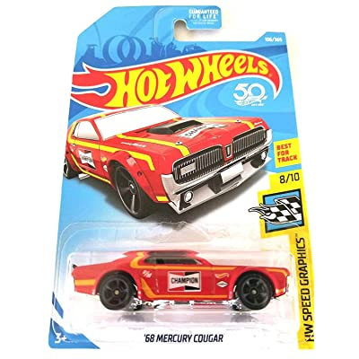Hot Wheels 2020 50th Anniversary HW Speed Graphics '68 Mercury Cougar 106/365, Red: Toys & Games