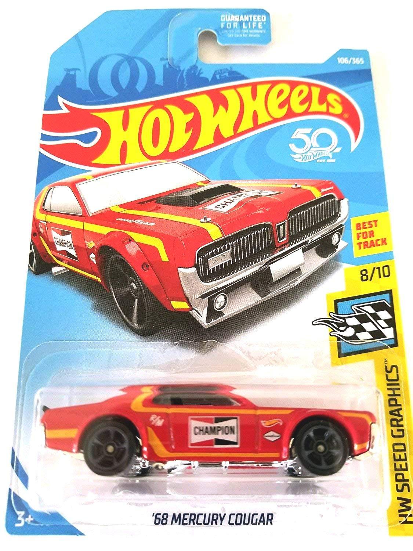 Red Mattel Hot Wheels 2018 50th Anniversary HW Speed Graphics 68 Mercury Cougar 106//365