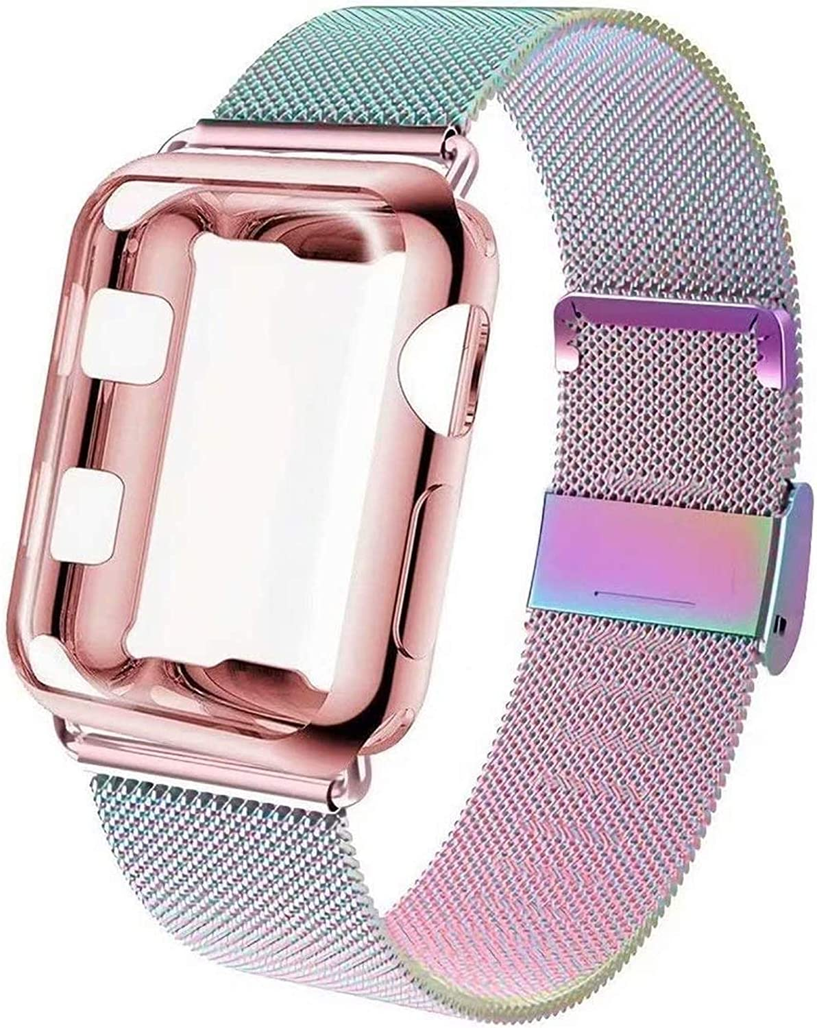 GBPOOT Compatible for Apple Watch Band 38mm 40mm 42mm 44mm with Screen Protector Case, Sports Wristband Strap Replacement Band with Protective Case for Iwatch Series 6/SE/5/4/3/2/1,40mm,Colorful