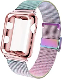 GBPOOT Compatible for Apple Watch Band 38mm 40mm 42mm 44mm with Screen Protector Case, Sports Wristband Strap Replacement Band with Protective Case for Iwatch Series 6/SE/5/4/3/2/1,38mm,Colorful