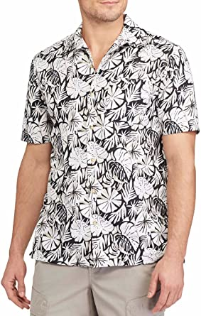 cd0a58ebab06e2 Chaps Men's Classic-Fit Floral Performance Button-Down Camp Shirt (Medium,  Faded