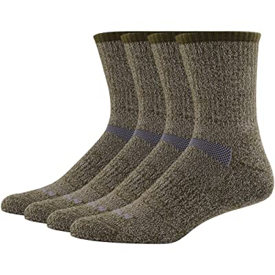 MK MEIKAN Merino Wool Hiking Socks, Crew Wicking Outdoor Performance Cushion Socks Men 4 Pairs, Army Green: Clothing