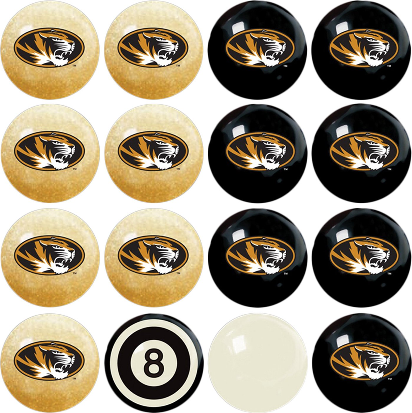 Imperial Officially Licensed NCAA Merchandise: Home vs. Away Billiard/Pool Balls, Complete 16 Ball Set, Missouri Tigers
