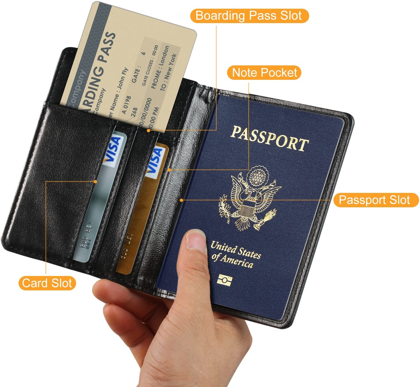 TDA Travel Passport Holder Wallet Multi-Purpose RFID Blocking ID Cards PU Leather Case Cover Black