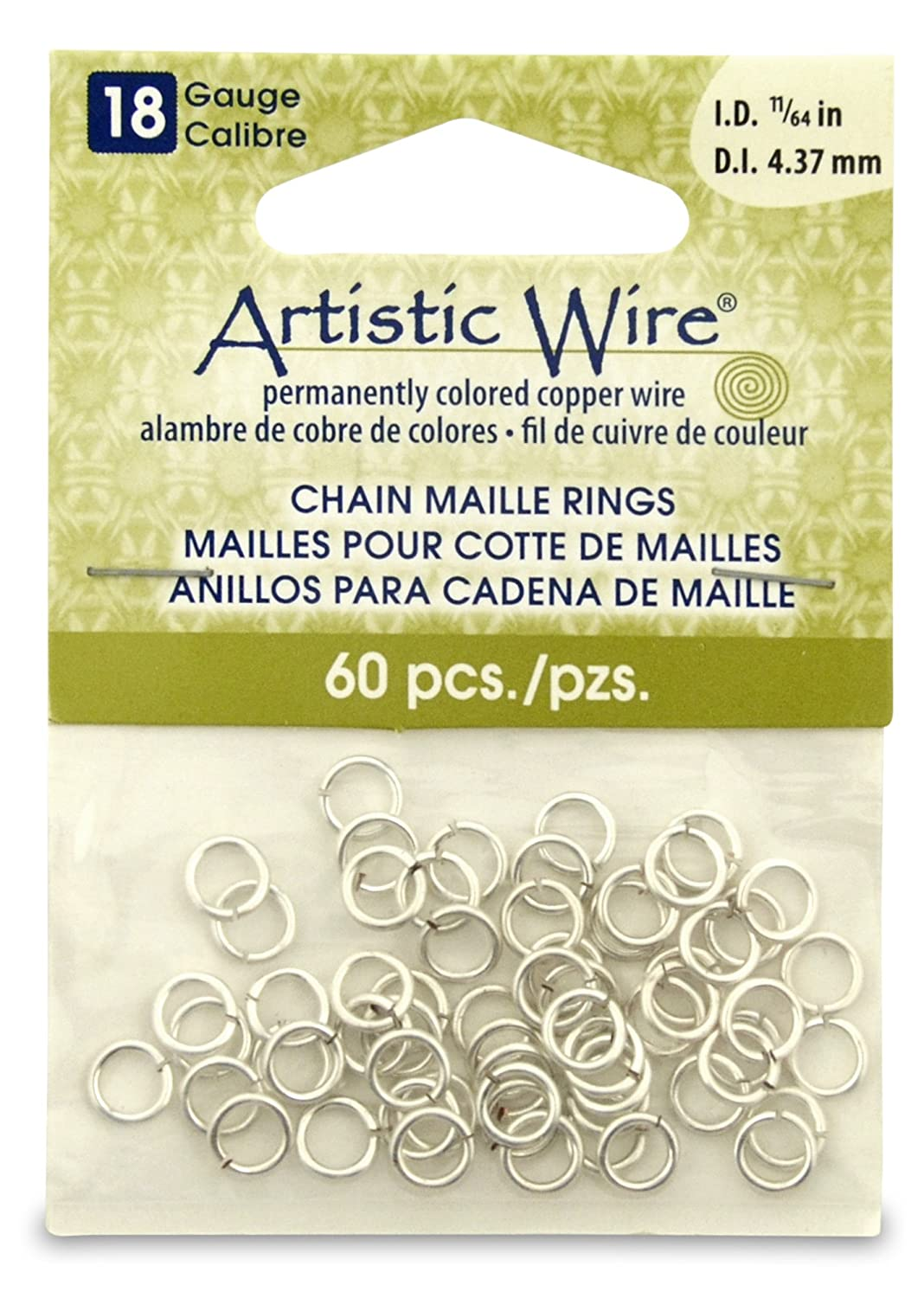 Beadalon 11/64-inch 60 Piece Artistic Wire 18-Gauge Non-Tarnish Chain Maille Rings, Silver A314-18S-10-07