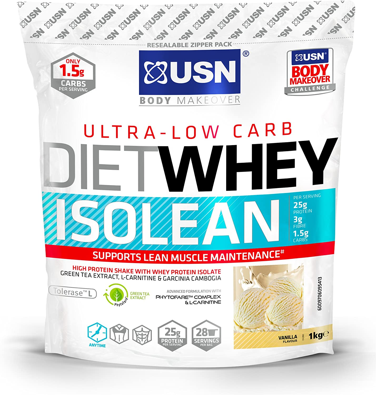 USN Diet Whey Isolean Suplemento de Proteínas Vanilla - 1000 gr