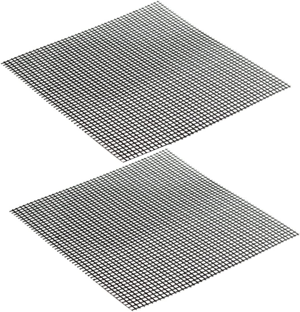 Yardwe BBQ Grilling Mesh Mat Non Stick Grill Mesh Reusable Heat Resistant for Grilling Cooking Baking 2PCS