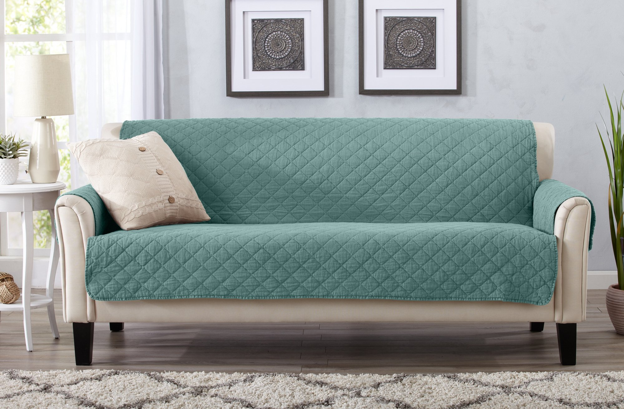 Great Bay Home Deluxe Stonewashed Stain Resistant Furniture Protector in Solid Colors. Laurina Collection By Brand. (Sofa, Aqua)