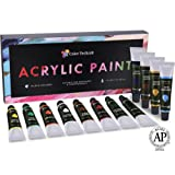 Acrylic Paint Set By Color Technik, Professional Artist Quality, Palette Included, 12 Aluminium Tubes, Best Colors For Painting Canvas, Wood, Clay, Fabric, Nail Art and Ceramic, Rich Pigments, Gift Me