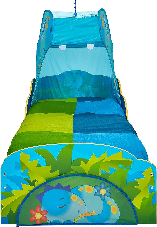 Hello Home 509DSR Cama Infantil de Dinosaurio con Dosel y Caj/ón x 143 cm Anchura Tama/ño Aproximado:/138 cm x 77 cm Altura Fondo