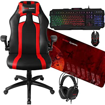 Mars Gaming - Pack Silla Gaming y Combo RGB (inclinación y Altura Regulables, reposacabezas