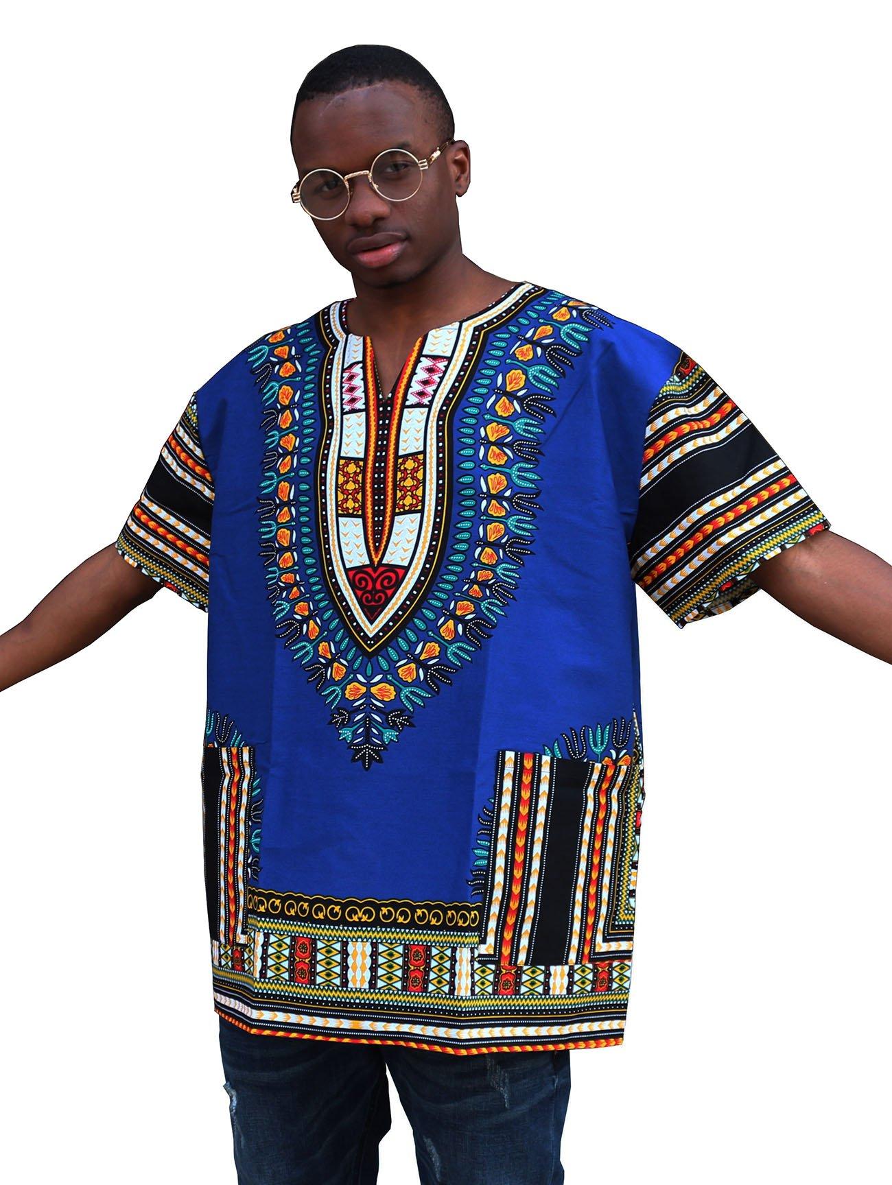 Shenbolen Unisex African Bright Dashiki Cotton Shirt(One Size,B)