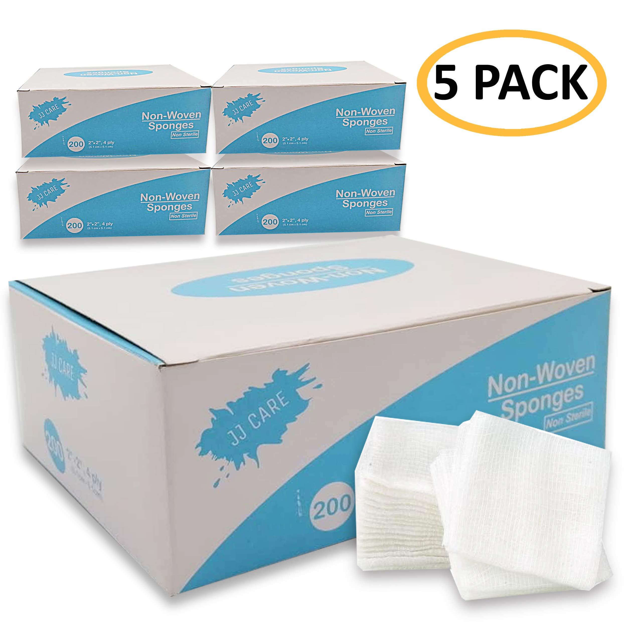 [40% Thicker] Non Woven Gauze Sponge 2x2 inches, 4-Ply Non-sterile, Medical, Dental, Facial Wipes - Esthetic Supplies, Spa Essentials Pads - 200 Count per Box (Pack of 5) by JJ CARE