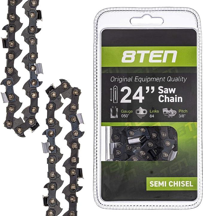 8TEN Chainsaw Chain 24 Inch .050 3//8 84 DL Stihl Husqvarna 3650 005 0084 2 Pack