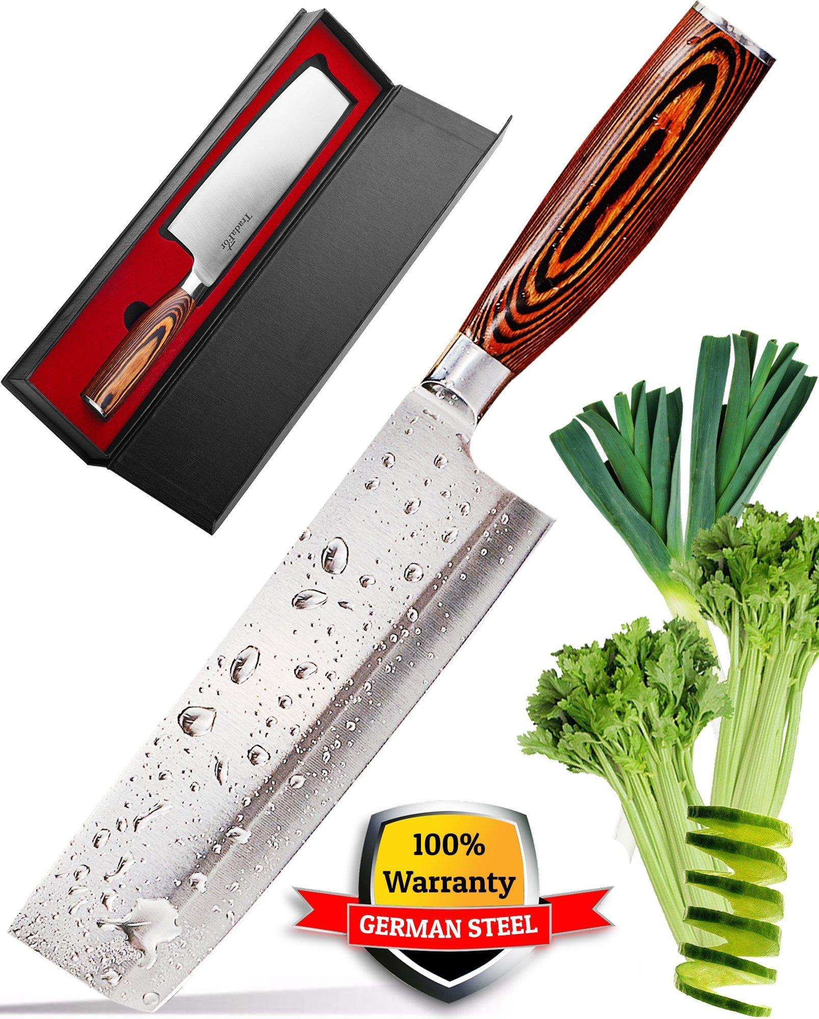 Vegetable Knife - Japanese Chef Knife - Usuba - Sharp Knife - Nakiri Knife - Kitchen Knife - Stainless Steel High Carbon Pro Chef Knife - 7Inch Dicing Mincing Veg Knife - Best Gift in Stylish Gift Box