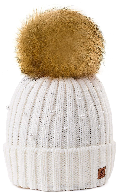 4sold Beanie Hat Mujer Sombreros con Bola Pequeña Lana De Invierno ...