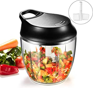 PARTNERO Manual handheld Food Chopper,Vegetables Fruits Chopper,Onion Chopper pull string,Blender With 5 Stainless Steel Blades to Chop Meat, Garlic,Salad,Cheese,Milkshake, Nut,No Electricity Required