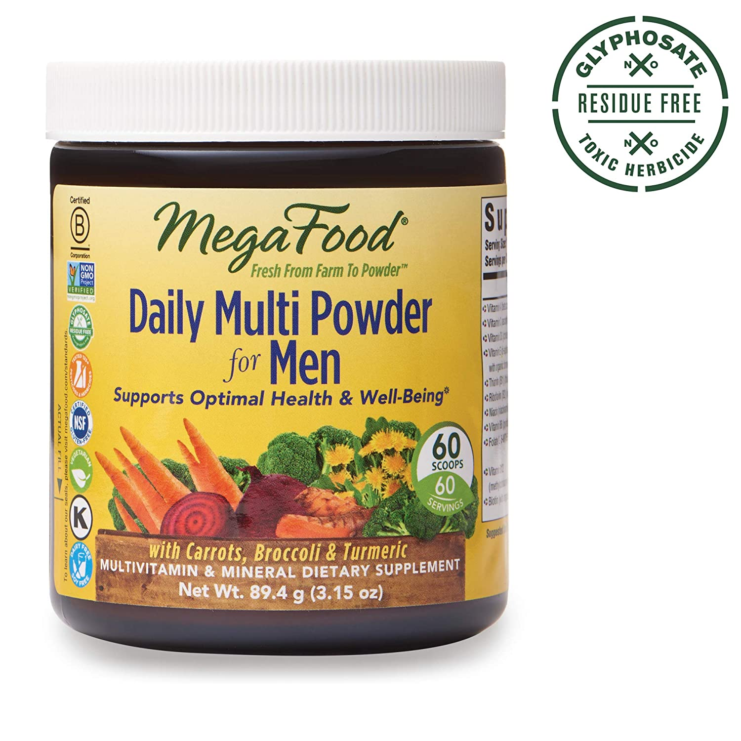 MegaFood, Daily Multi Powder for Men, Supports Optimal Health, Multivitamin and Mineral Supplement, Gluten Free, Vegetarian, 3.15 oz (60 Servings)