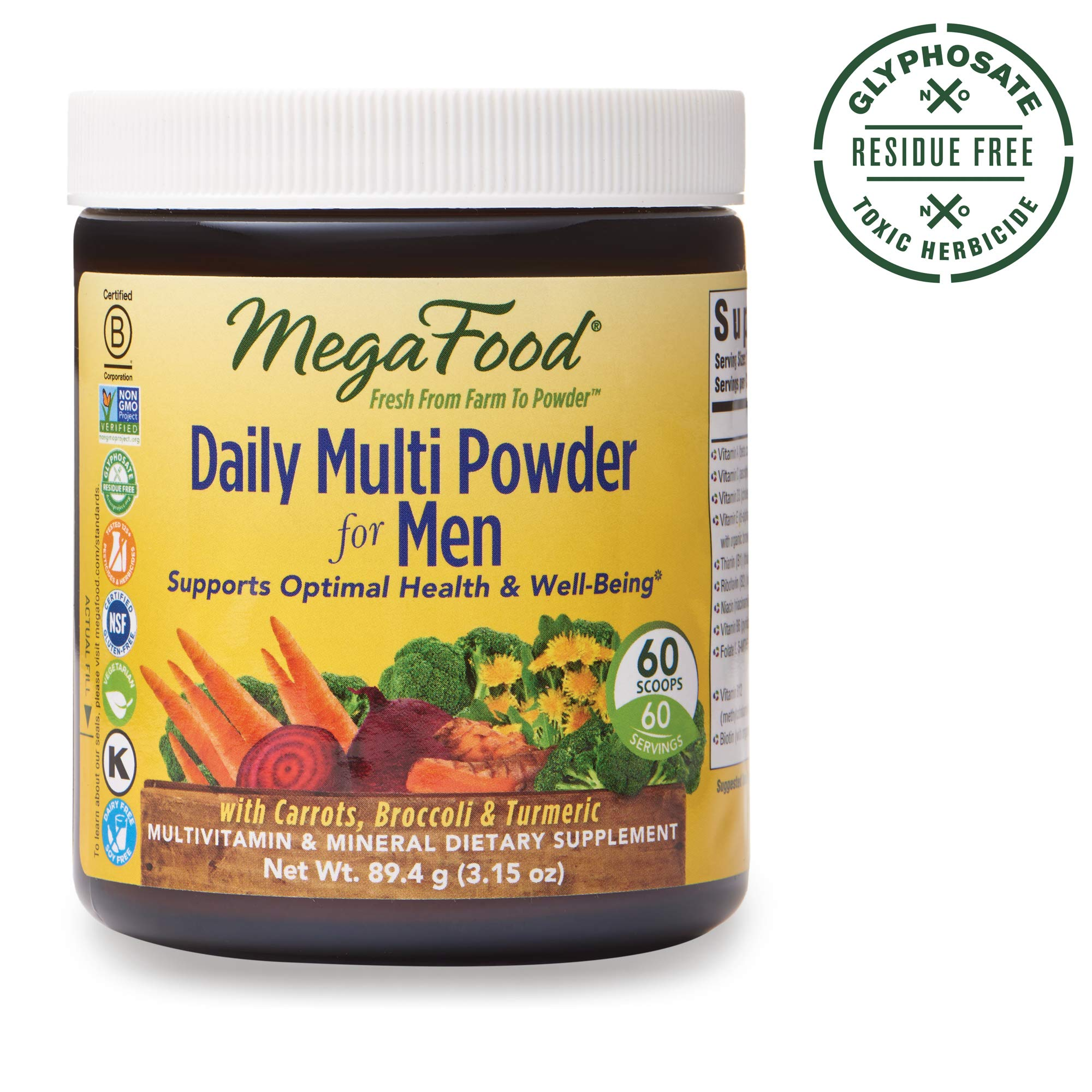 MegaFood, Daily Multi Powder for Men, Supports Optimal Health, Multivitamin and Mineral Supplement, Gluten Free, Vegetarian, 3.15 oz (60 Servings) by MegaFood