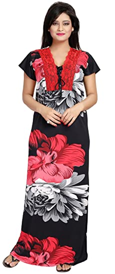 f1c3b331f0 Noty Women s Satin Nighty Floral Print (Red-Black)