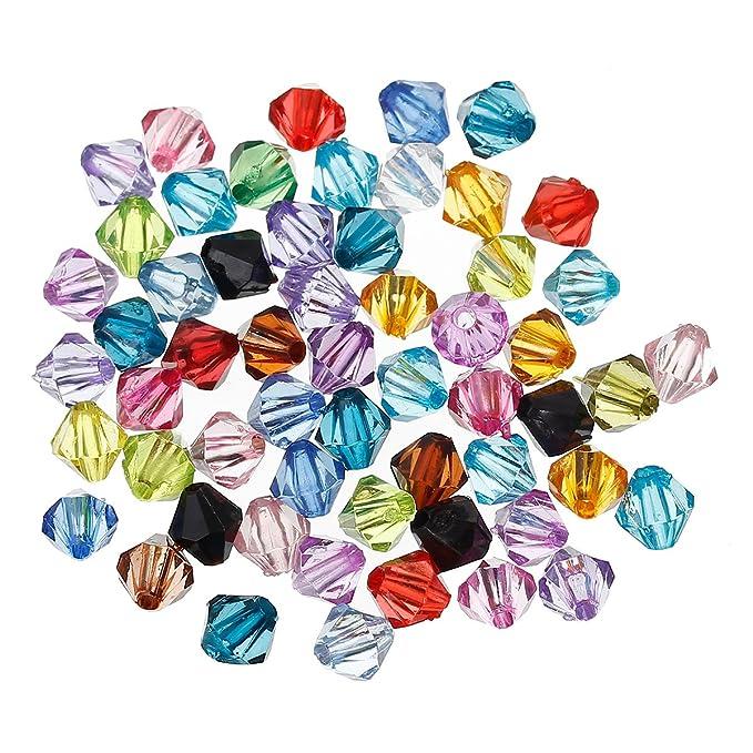 500 Mix Acryl Böhmen Facettiert Rund Spacer Perlen Beads Bicone Rhombe 6mm