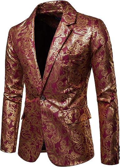 COOFANDY Mens Metallic Suit Jackat Luxury Stylish Slim Fit Blazer One Button Sport Coat