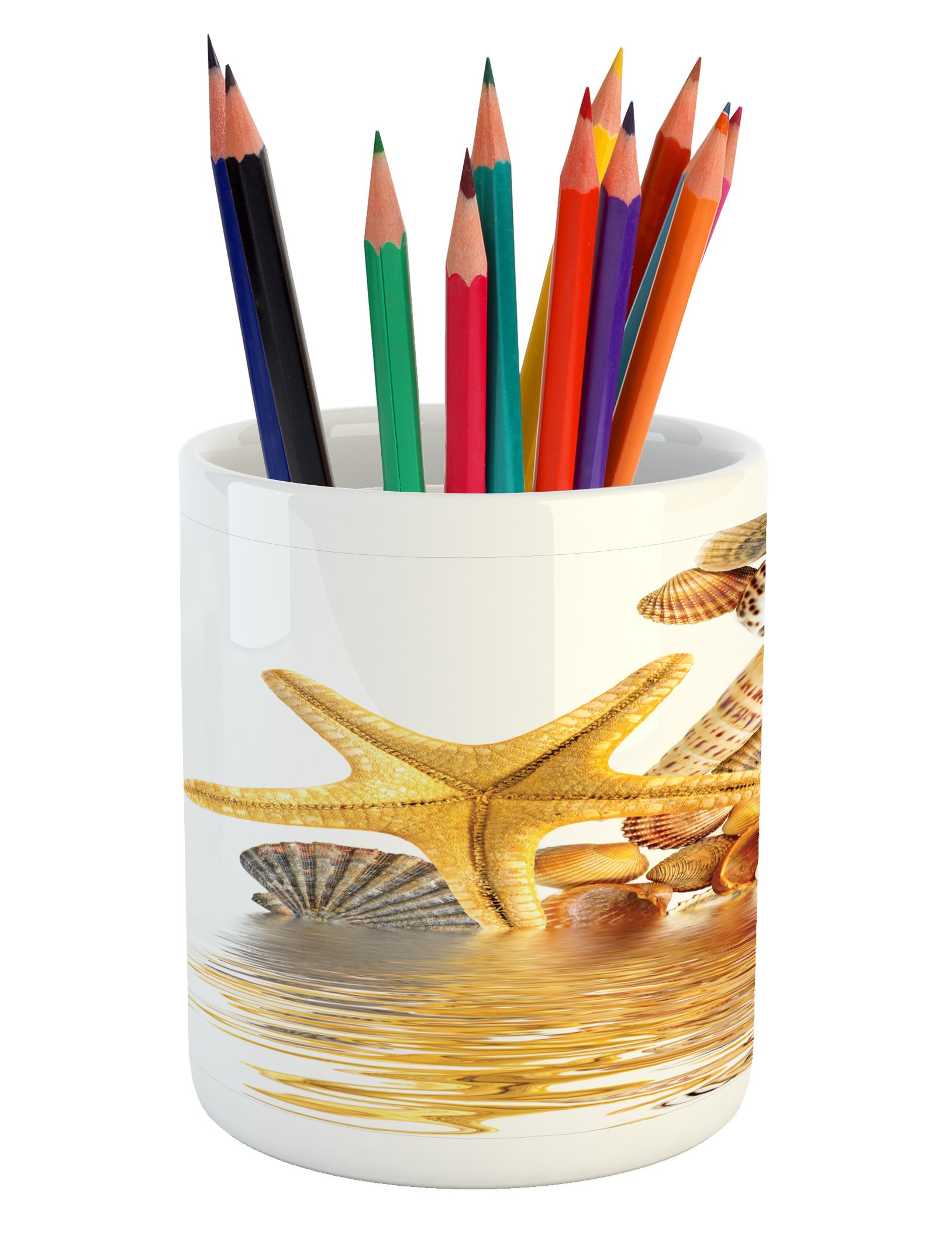 Ambesonne Seashells Pencil Pen Holder, Shells and Starfish Reflection Water Golden Yellow Spa Clear Beach Theme, Printed Ceramic Pencil Pen Holder for Desk Office Accessory, Earth Yellow Cream
