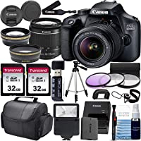 Canon EOS 4000D w/ 18-55mm F/3.5-5.6 III Lens Zoom Lens & Professional Accessory Bundle W/ 2X 32GB Memory Cards + Case…