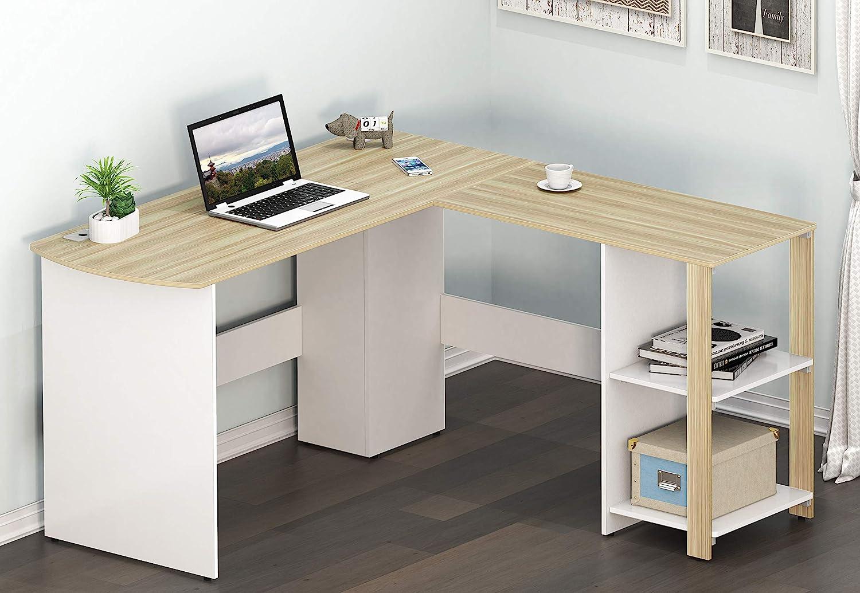 SHW Cyrus L Desk with Shelves, Oak