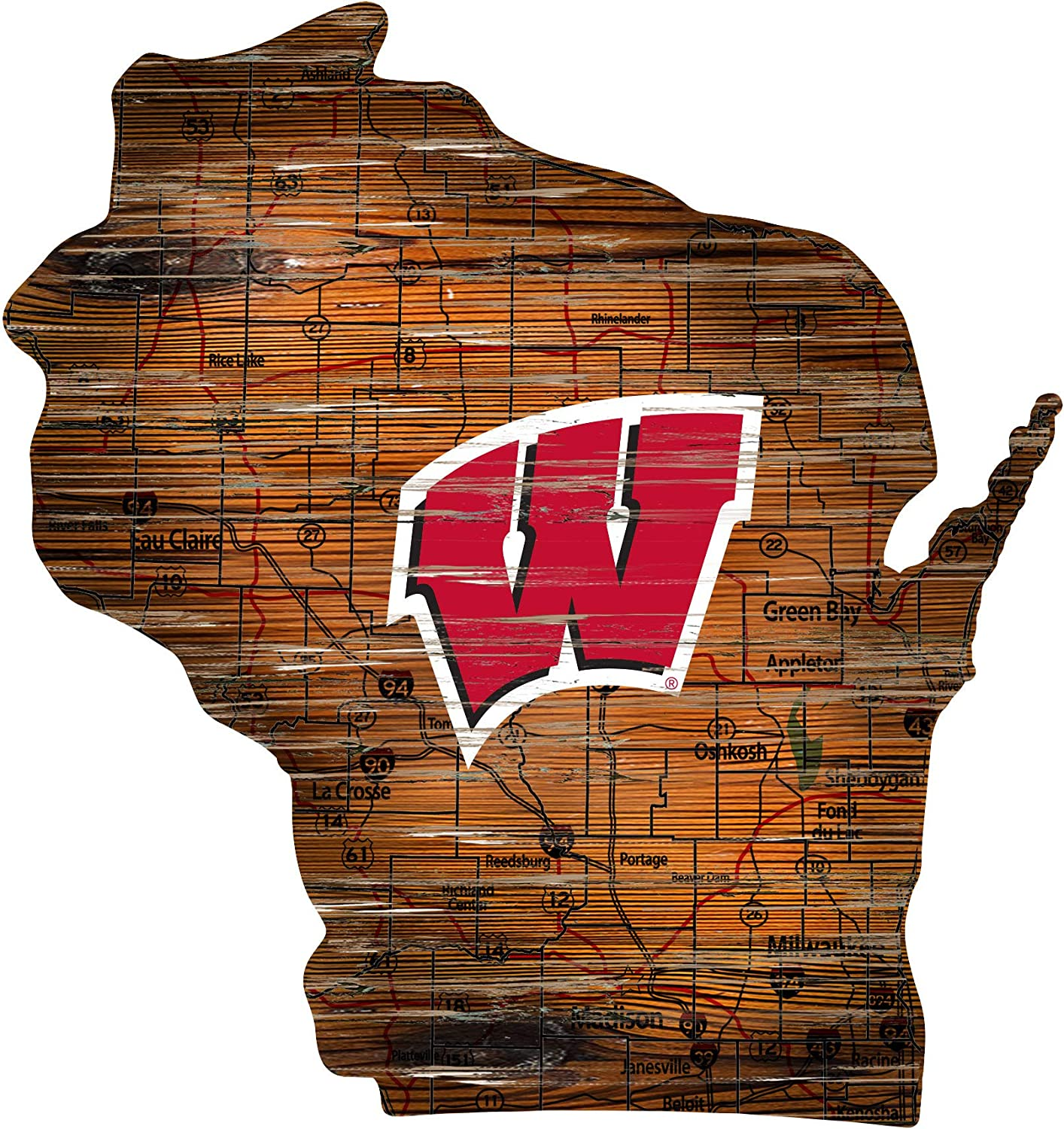 Fan Creations NCAA Wisconsin Badgers Unisex University of Wisconsin Mini Roadmap State Sign, Team Color, 12 inch