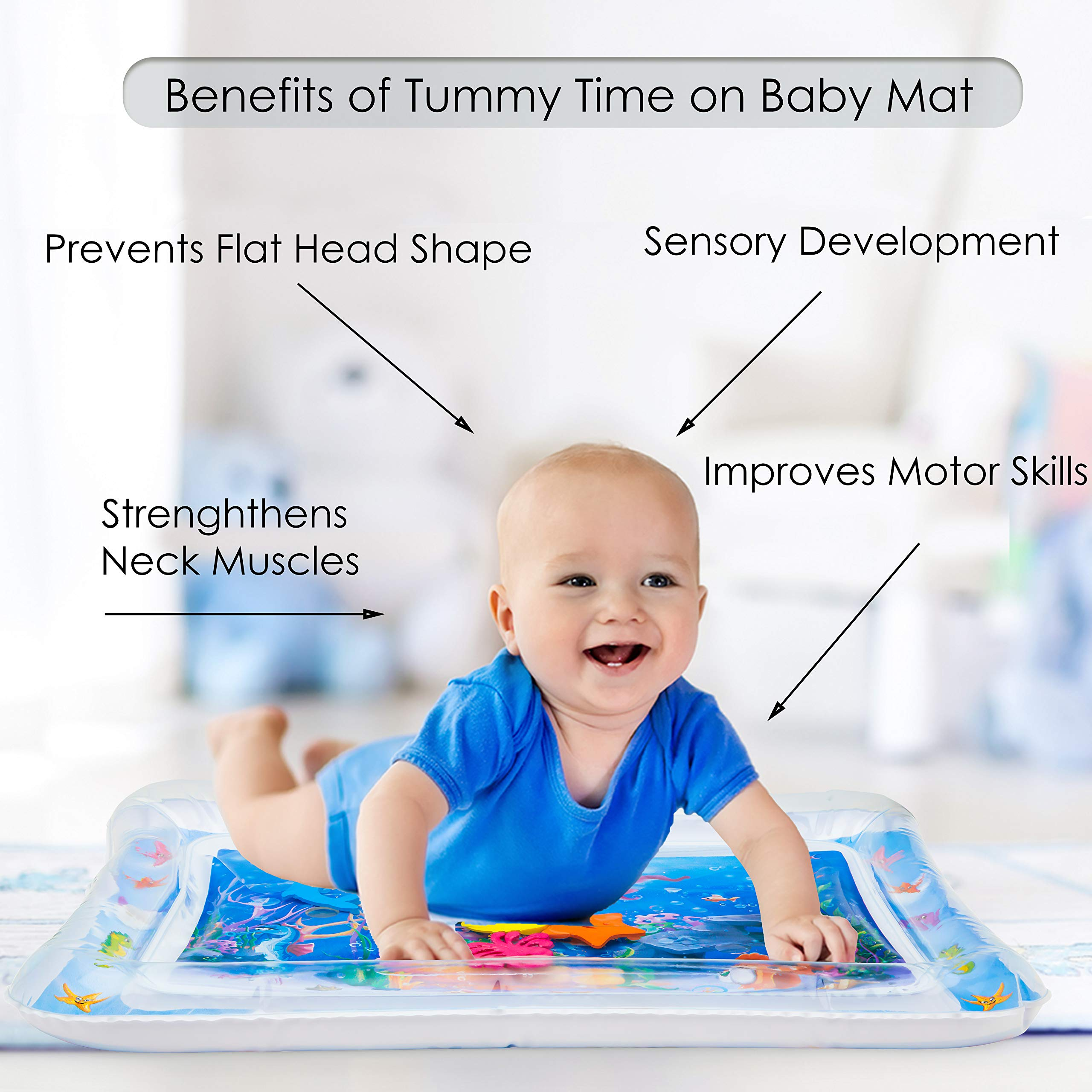 Splashin'kids Inflatable Tummy Time Premium Water mat for Infants & Toddlers is The Perfect Fun time Play Activity Center for Your Baby's Stimulation and Growth by Splashin'kids (Image #3)