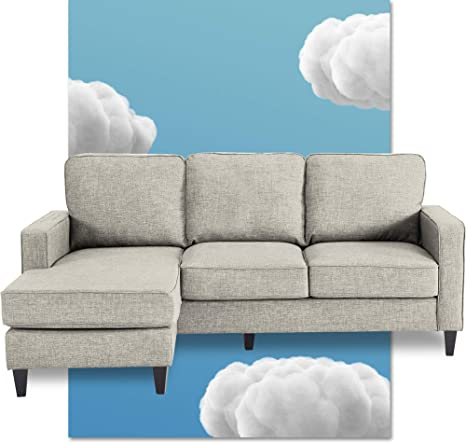 Amazon Com Serta Harmon Reversible Sectional Sofa Living Room Modern L Shaped 3 Seat Fabric Couch Square Arm Light Gray Furniture Decor