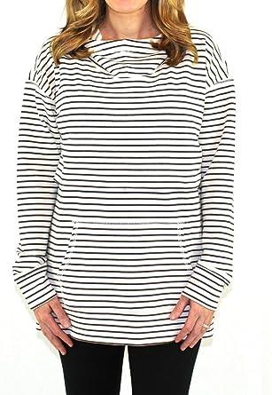 9f290bd8a3931 Nursing Queen Drop Shoulder Nursing Hoodie - Stripe Striped Sweatshirt (2X)  Black and White
