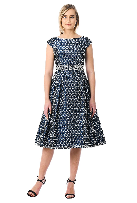 Vintage Polka Dot Dresses – 50s Spotty and Ditsy Prints eShakti Womens Polka Dot Jacquard Belted Dress $69.95 AT vintagedancer.com