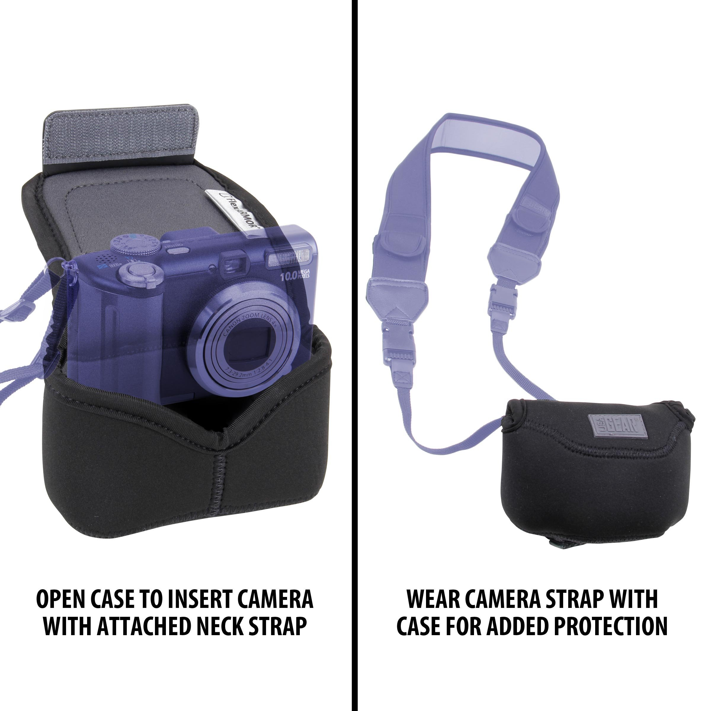 Usa Gear Digital Camera Case For Panasonic Lumix Dmc Zs100 Tz100 Lx10 Black Lx100 Dc Zs70 And More Compact Sleeve With Padded Protective Neoprene
