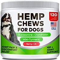 All-Natural Hemp Chews + Glucosamine for Dogs - Advanced Hip & Joint Supplement...