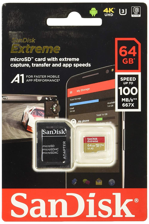 Tarjeta de memoria SanDisk Extreme 64 GB microSDXC para Smartphone, tabletas y cámaras MIL + adaptador SD, velocidad de lectura hasta 100 MB/s, Clase ...