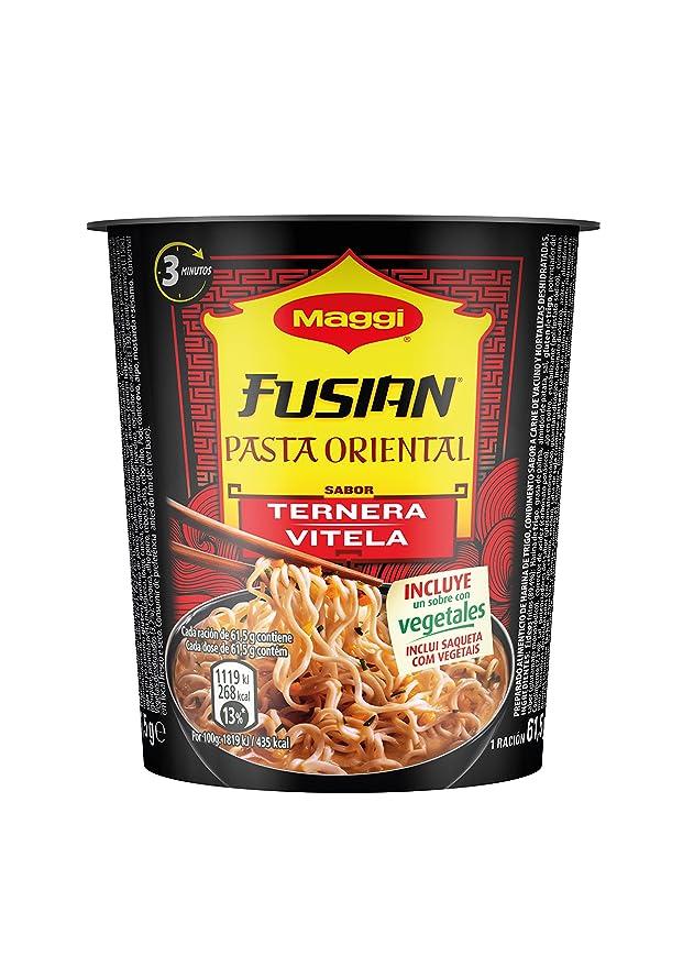 MAGGI Fusian Pasta Oriental Noodles Sabor Ternera - Fideos Orientales - Vaso 61,5g (1 ración): Amazon.es: Amazon Pantry