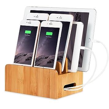 XPhonew Creacion de bambu base de carga Soporte Soporte movil de multiples funciones del soporte de exhibicion Caja de almacenamiento de escritorio